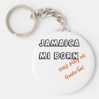 JAMAICA MI BORN BASIC ROUND BUTTON KEY RING
