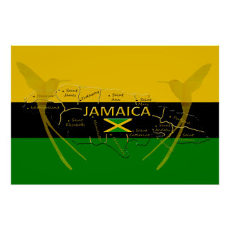 Jamaica Parishes Color HummingBird Poster any size