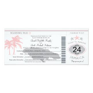 Jamaica Pink Gray Boarding Pass Wedding 4x9.25 Paper Invitation Card