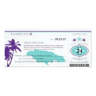 Jamaica Purple Palm Tree Starfish Boarding Pass 10 Cm X 24 Cm Invitation Card