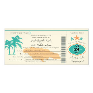 Jamaica Save the Date Boarding Pass 10 Cm X 24 Cm Invitation Card