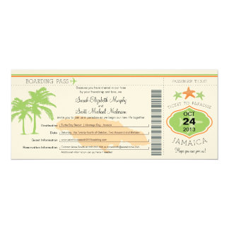 "Jamaica Save the Date Boarding Pass 4"" X 9.25"" Invitation Card"