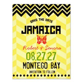JAMAICA Save the Date Linen Paper 11 Cm X 14 Cm Invitation Card