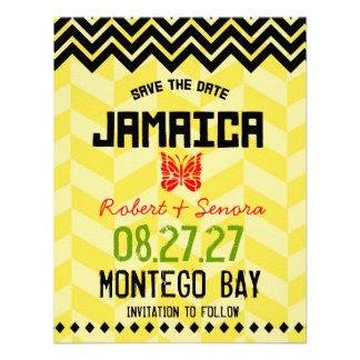 JAMAICA Save the Date Linen Paper Custom Invitation