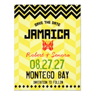 JAMAICA Save the Date Linen Paper 11 Cm X 14 Cm Invitation Card