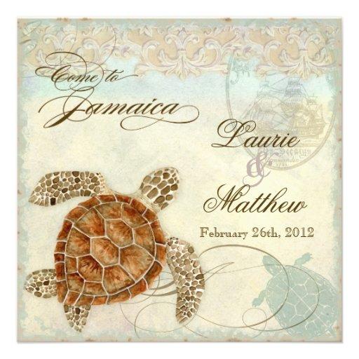 Jamaica Sea Turtle Modern Coastal Ocean Beach Invitations