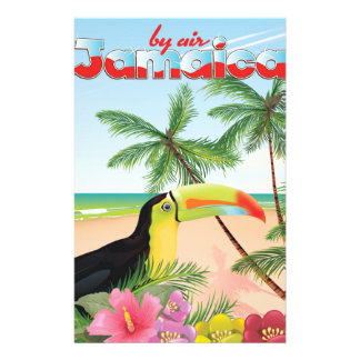 Jamaica toucan beach poster stationery