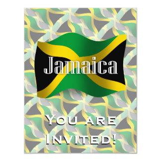 Jamaica Waving Flag 11 Cm X 14 Cm Invitation Card