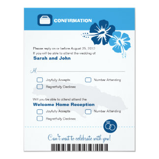 Jamaica Wedding RSVP Confirmation Boarding Pass Card