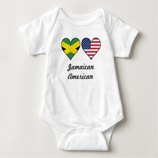 Jamaican American Flag Hearts Baby Bodysuit