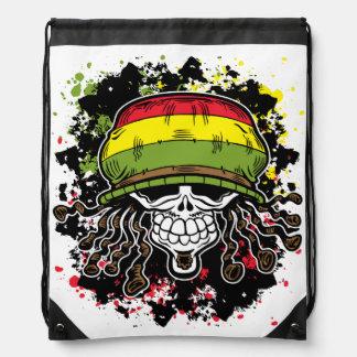 Jamaican Corn Rolls Hair Skull Paint Splashes Rucksack