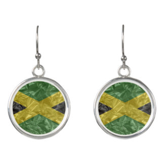 Jamaican Flag - Crinkled Earrings