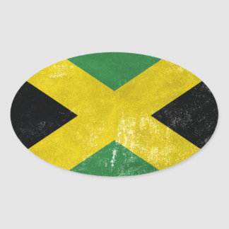 Jamaican Flag Oval Sticker