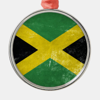 Jamaican Flag Silver-Colored Round Decoration