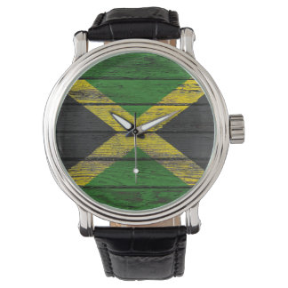 Jamaican Flag with Rough Wood Grain Effect Watch
