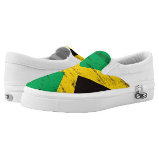 Jamaican Grunge Flag Slip On Shoes