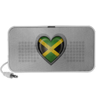 Jamaican Heart Flag Stainless Steel Effect Portable Speakers