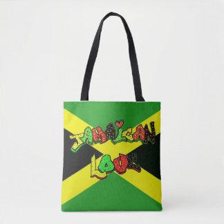 Jamaican love in graffiti letters tote bag