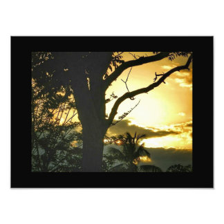 Jamaican Mountain Sunset Print - Black Border