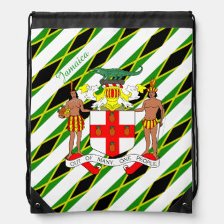 Jamaican stripes flag drawstring bag