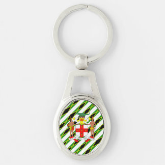 Jamaican stripes flag key ring