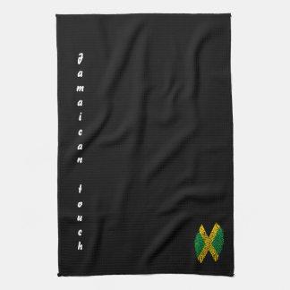 Jamaican touch fingerprint flag tea towel