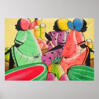 Jamaican Women in Fruit Market D Roberts Canvas Pr Posters