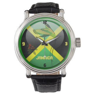 Jamaicn Jewels Black Vintage Leather Strap Watch