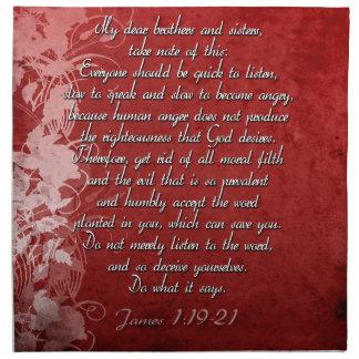 James 1:19 Scripture Gift Napkin