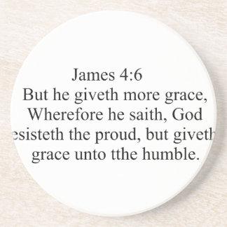 James 4:6 beverage coaster