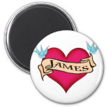 James - Custom Heart Tattoo T-shirts & Gifts 6 Cm Round Magnet