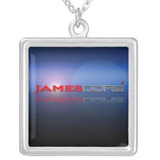 James Dore' Logo necklace  blue lense flare