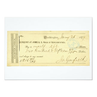 James Garfield Signed Check from January 25th 1877 13 Cm X 18 Cm Invitation Card