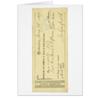 James Garfield Signed Check from January 25th 1877 Greeting Card