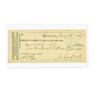 James Garfield Signed Check from January 25th 1877 Shipping Label