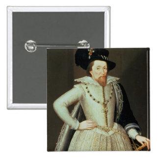 James I, half-length portrait 15 Cm Square Badge