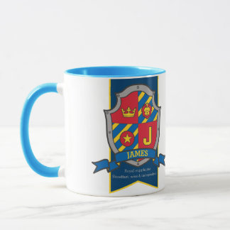James knight shield red blue name meaning mug