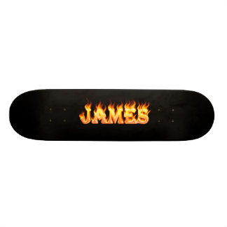 James real fire and flames skateboard design