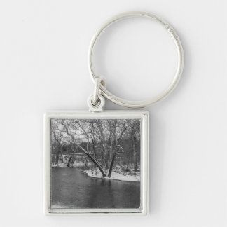 James River Cuts Back Grayscale Silver-Colored Square Key Ring