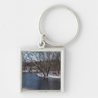 James River Cuts Back Silver-Colored Square Key Ring