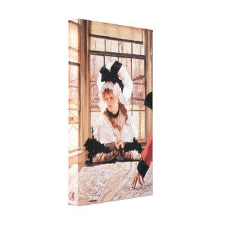 James Tissot - A tedious history Stretched Canvas Prints