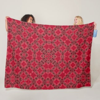 James Vintage Victorian Red Satin Foulard Mandala Fleece Blanket