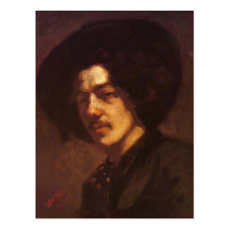 James Whistler- Portrait of Whistler with a Hat Postcard