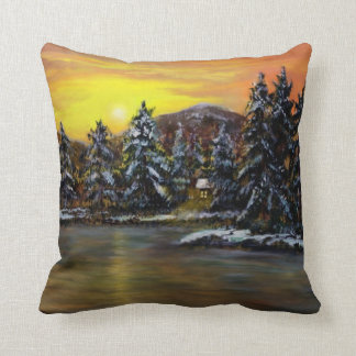 James'  Winter Cabin by Ave Hurley Cushion