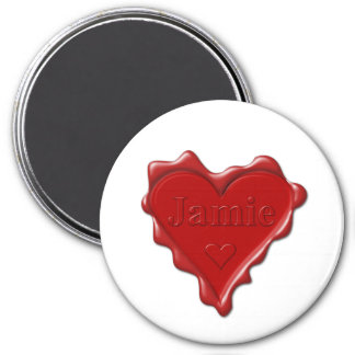 Jamie. Red heart wax seal with name Jamie Magnet