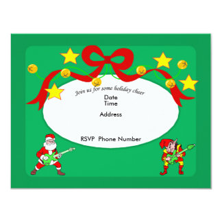 Jamming Santa And Elf Invitation Card