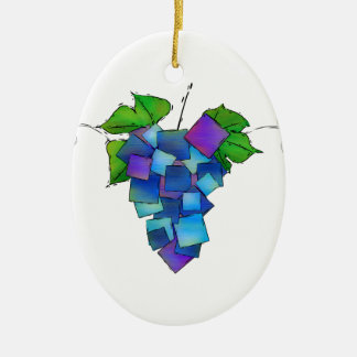Jamurissa - square grapes ceramic ornament