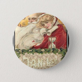 Jan 1st Old Father Time New Year 6 Cm Round Badge