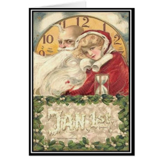 Jan 1st Old Father Time New Year Card