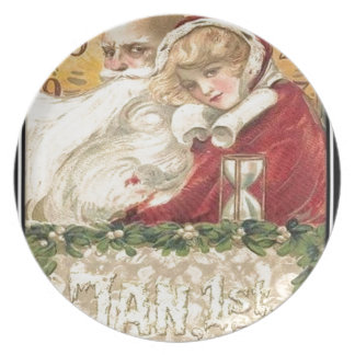 Jan 1st Old Father Time New Year Plate